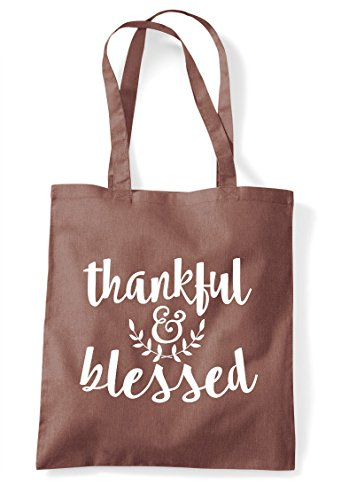 Shopper Tote Statement And Thankful Blessed Chestnut Bag qawXnxtvU