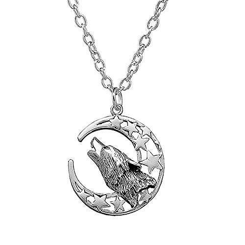 Eiffy Antique Silver Howling Wolf Crescent Moon and Pentagram Pentacle Star Pendant Necklace Wicca Jewelry (Moon)