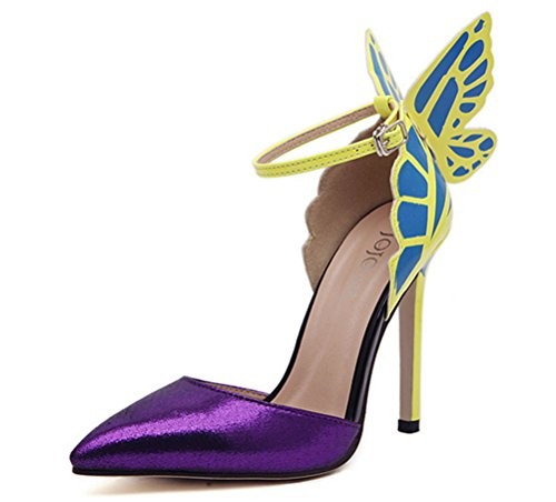 MMJULY Womens Fashion Pointed Toe Strap Butterfly Wings Sexy High Heels Stiletto Pumps Purple 2tDSrsfu9D