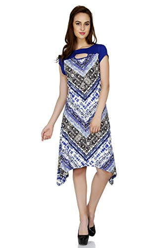 Fusion Beats Women Blue Printed Blended Polyester Dress