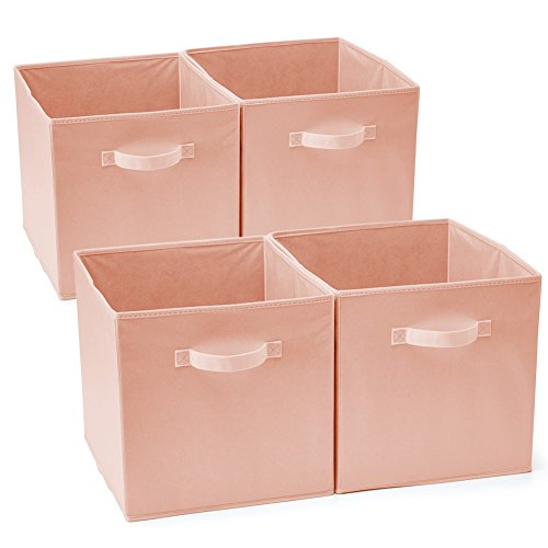 EZOWare Set of 4 Foldable Fabric Basket Bins, Collapsible Storage Cube for Nursery Home and Office - Dog Wood Pink (11 x 10.5 x 10.5 (Dog Plastic Bedding)