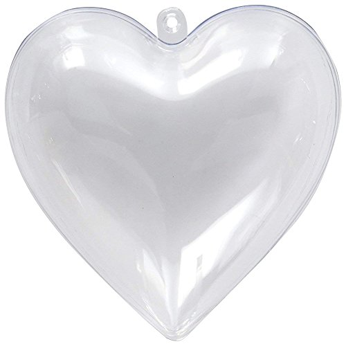 10 Pieces of Transparent Plastic Filled Heart Ball Ornaments Christmas Birthday Wedding Party Decorations (80mm) (Heart)