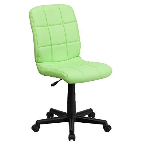 Flash Furniture Mid-Back Green Quilted Vinyl Swivel Task Chair Commerce Low Back Swivel