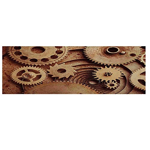 Industrial Decor Microwave Oven Cover,Inside The Clocks Theme Gears Mechanical Copper Device Steampunk Style Print Cover for Kitchen,36
