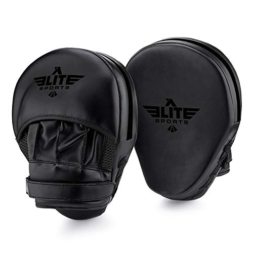Elite Sports Boxing Punch Focus Mitts - for MMA, Kickboxing, Muay Thai Sparring (Black)