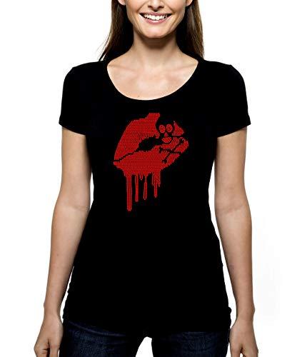 Skull Lips RHINESTONE T-Shirt Shirt Tee Bling - Halloween Spooky Holiday Costume Party Crossbone Blood Cross Bone Scary Skeleton - Pick Shirt Style - Scoop Neck V-Neck Crew Neck -