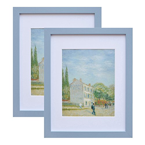- 11x14 Wood Picture Frame - Flat Profile - 2 pcs - for Picture 8x10 with Mat or 11x14 Without Mat (Blue)