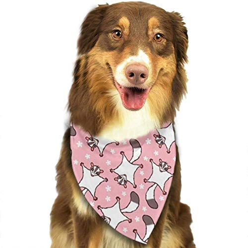 Angel kuy Dog Bandana Sweet Sugar Glider with Flowers Pink Triangle Bibs Scarf Printing Kerchief Set Accessories Dogs Cats - Maple Back Glider