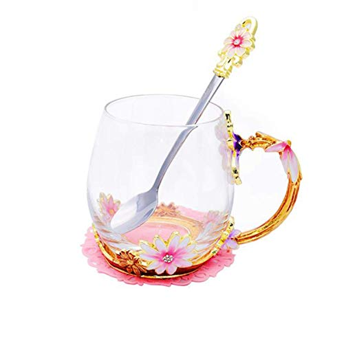 ALITA Luxury Handmade Pink and Purple Flower Crystal Glass Tea Cup/Coffee Mug with Spoon Gift Set (11oz) ()
