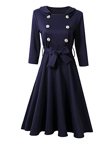 Leadingstar Women Double Collar Metal Buckle Bow Belted 3/4 Sleeve (Belted Buckle)