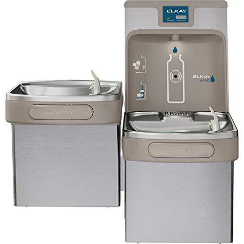 (Elkay LZSTL8WSSP Enhanced EZH2O Bottle Filling Station, & Versatile Bi-Level ADA Cooler, Filtered 8 GPH Stainless)