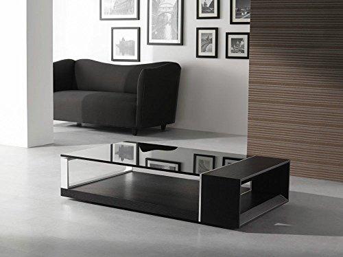 (J&M 883-D Wenge Colored Oak Veneer W/ Brushed Metal Coffee Table)
