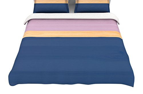 88 x 88 Kess InHouse Spring Swatch-Blue Lavender Featherweight Queen Duvet Cover
