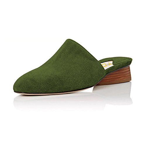 YDN Women Stacked Low Heel Mules Slide on Closed Toe Clogs Block Casual Slippers Shoes Olive