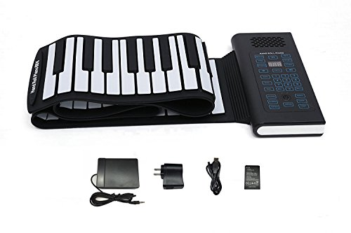 KikerTech BT 2018 Premium Grade Silicone Roll Up Piano Keyboard with Built-In Speaker, Connecting Pedal and Bluetooth (88 Keys, Blue)