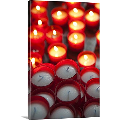 GREATBIGCANVAS Gallery-Wrapped Canvas Entitled Votive Candles in a Cathedral, Como Cathedral, Como, Lakes Region, Lombardy, Italy by 40