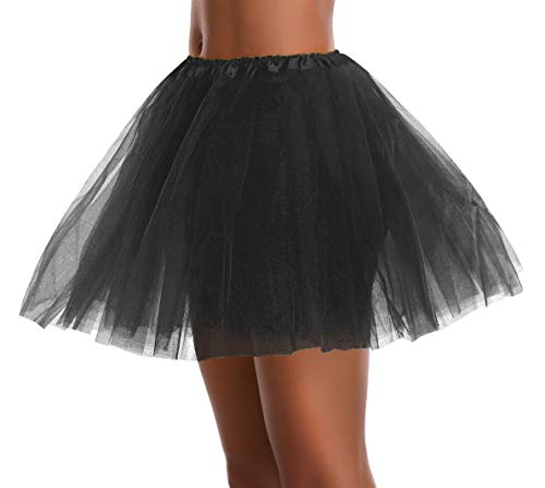 Women's, Teen, Adult Classic Elastic 3, 4, 5 Layered Tulle Tutu Skirt (One Size, Black -