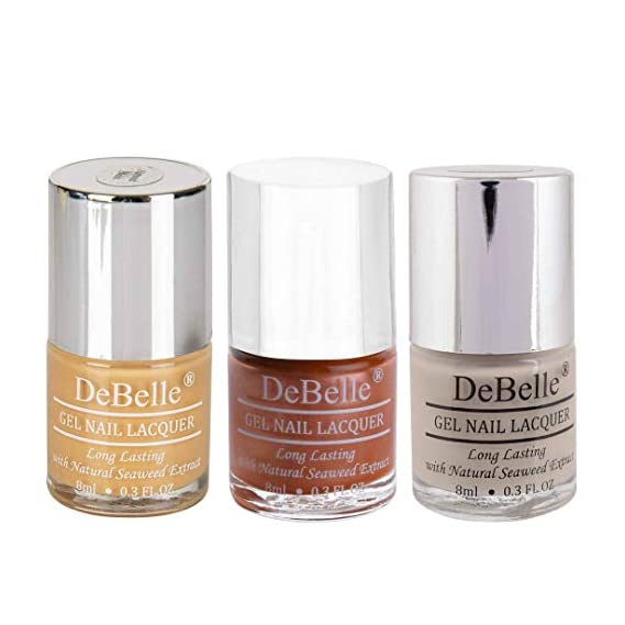 DeBelle Gel Nail Lacquers Combo of 3, Orange Brown (Almond Blush), Metallic Rose Gold(Roseate Gold) and Light Nude