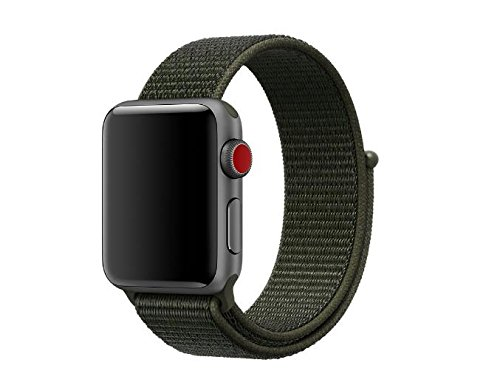 Woven Nylon Strap Replacement Sport Loop Nylon Band for Apple Watch Nike+, Series 1, Series 2, Series 3,Sport and Edition (Cargo Khaki, 42MM) (Cargo Vintage Khakis)