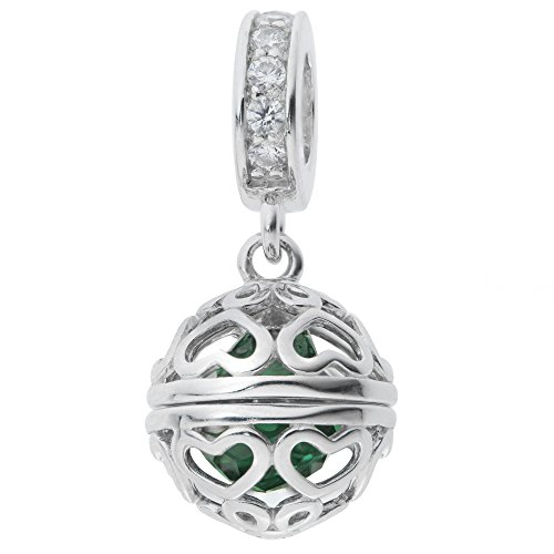 Rhodium On 925 Sterling Silver May Birthday Green Cz Dangle For European Charm Bracelets