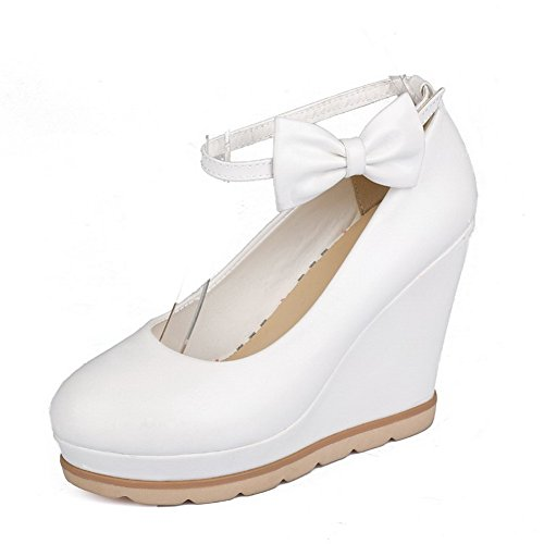 Wristbands Material Snap Women's Pumps Metal Solid Toe Soft White Closed WeiPoot with EnvqzREYw