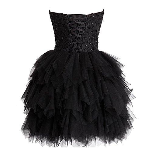 Trägerlos Schwarz Brautjungfernkleid Party Kleid Tüll CoCogirls Heimkehr Abendkleid Ballkleid Festkleid Kleider Schatz Ballkleid Kleid Knielänge HqAdpZw