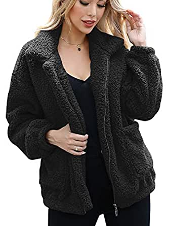 ANRABESS Women's Coat Casual Lapel Fleece Fuzzy Faux Shearling Zipper Warm Winter Oversized Outwear Jackets A95hei-S