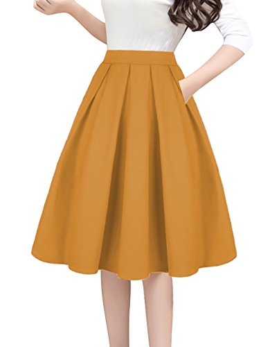 Tandisk A-Line Pleated Vintage Skirts with Pockets for Women Yellow S