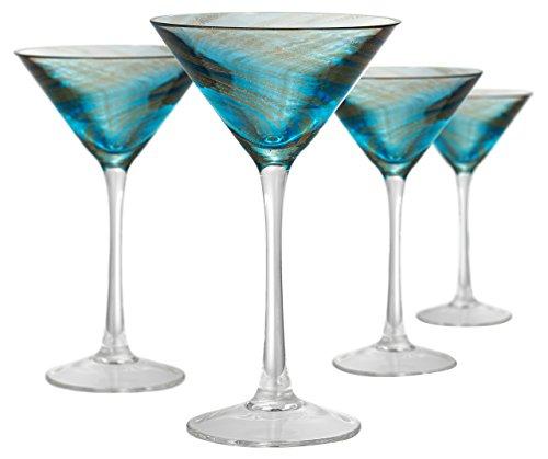 Artland Misty martini Glass, Set of 4, 8 oz, Aqua