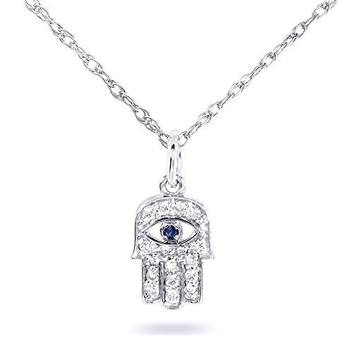 Diamond & Sapphire Hamsa Pendant 1/10 carat (ctw) in 14k White Gold
