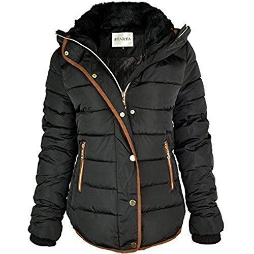 Veste Col Femmes Parka marron Noir Fourrure Matelassé Manteau Fashion Thirsty Taille Capuche Doudoune Neuve Hiver Bordure Y5qR8v