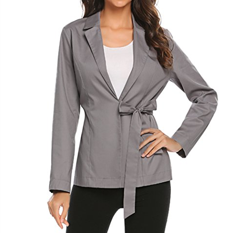Flyerstoy Women's Casual Work Office Blazer Slim Fit Cotton Cardigan Jacket With Belt by Flyerstoy (Image #1)