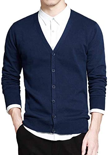 momolove Long Sleeve Cardigan V Neck Loose Solid Button Fit Knitting Cotton SweaterBlue Xr333L / momolove Long Sleeve Cardigan V Neck Loose Solid Button Fit Knitting Cotton SweaterBlue Xr333L
