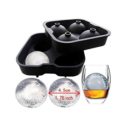 (3D Ice Ball Mold - 4 X 1.77 inch Round Ice Ball Spheres - 1 Pack - Durable Silicone, 100% Safe, Food Grade, Easy to Use Perfect Way to Chill Your Whisky, Scotch, Gin, Spirits or Any Cocktail Drink.)