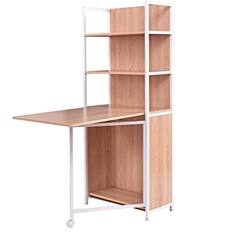 Bookshelf With Computer Desk 2 In 1 Convertible Folding Multipurpose Fold Out Storage Cabinet