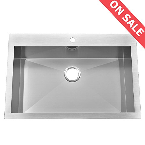KINGO HOME Stainless Steel Top Mount 33-Inch 10 Inch Extra Deep 18 Gauge Drop-In Single Bowl Kitchen Sinks