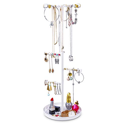 Keebofly Jewelry Tree Stand Organizer - Metal Necklace Organizer Display with Adjustable Height for Necklaces Bracelet Earrings and Ring ()