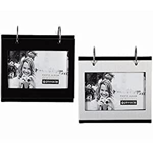 Black-1 Silver-1 Flip-its® tabletop album each holds 50 - 4x6 prints by PINNACLE® Our price is for 2 units - 4x6
