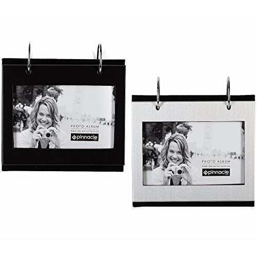 Black-1 Silver-1 Flip-its® tabletop album each holds 50 - 4x6 prints by PINNACLE® Our price is for 2 units - 4x6 Flip Album