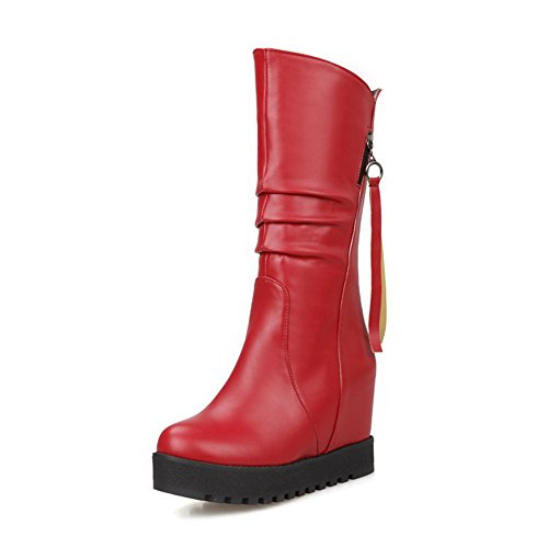 Allhqfashion Women's Low-top Solid Pull-on Round Closed Toe High-Heels Boots Red AdxE8HqJB5