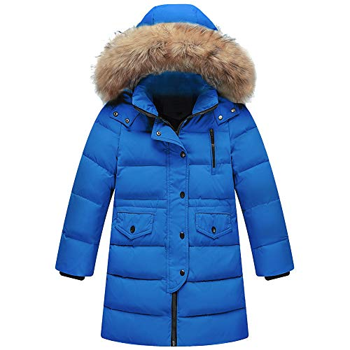 amropi Kids Meisjes Winter Puffer Jacket Gewatteerde Lange Jas met Bont Hood voor 2-12 Jaar