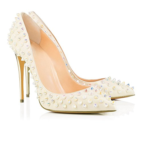Stiletto Rivets Pump Pointed Womens Shoes Heel Platform White AIWEIYi toe 1Iw44