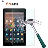 TiKeDa Fire HD 8 Screen Protector for All Amazon Kindle Fire HD 8 (2018/2017/2016 Release) Tempered Glass/HD / 9H Hardness [2-Pack] (Fire HD 8)