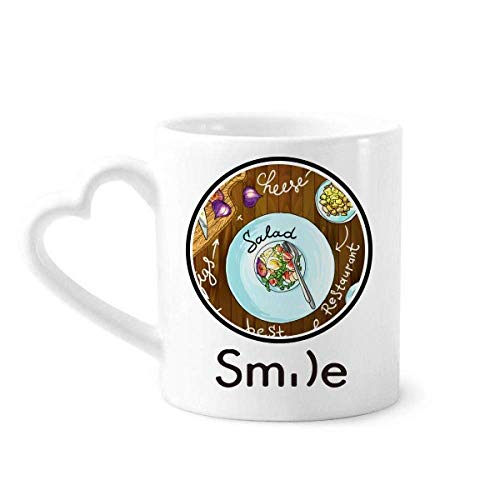 Salad Cheese Figs France Restaurant Smile pattern Mug Cup Pottery Heart Handle ()