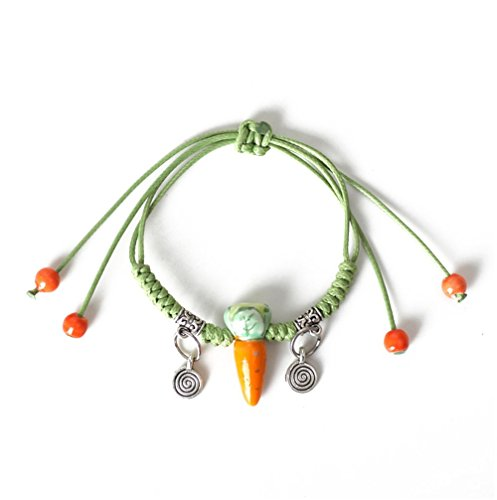 Winter's Secret Handmade Lovely Ceramic Carrot Green Weave Pendant Wrap Bracelet