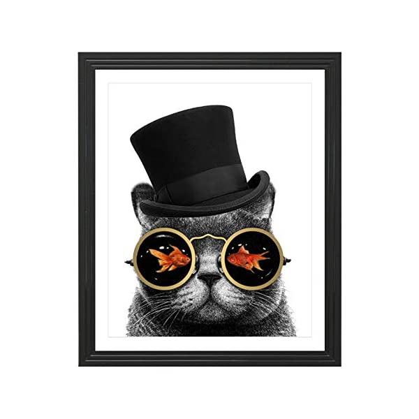 Eleville 8X10 Steampunk Cat Real Gold Foil Art Print (Unframed) Funny Artwork Funky Prints Wall Art Home Decor Motivational Poster Holiday Birthday Wedding Christmas Gift WG123 3