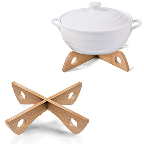 Set of 2 Bamboo Dual Purpose Wooden Hot Pot & Plate Stand, Food Steamer Rack