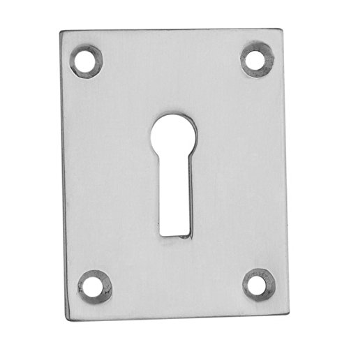 Square Keyhole Cover Escutcheon 50mm x 40mm + Screws (Satin Chrome Plated) by Euroart