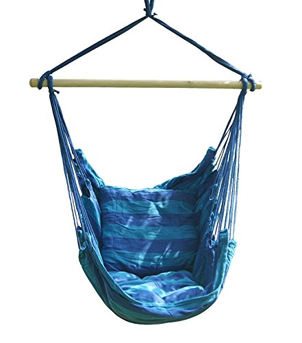 SueSport New Hanging Rope Chair – Swing Hanging Hammock Chair – Porch Swing Seat – With Two Cushions – Max.265 Lbs, Blue