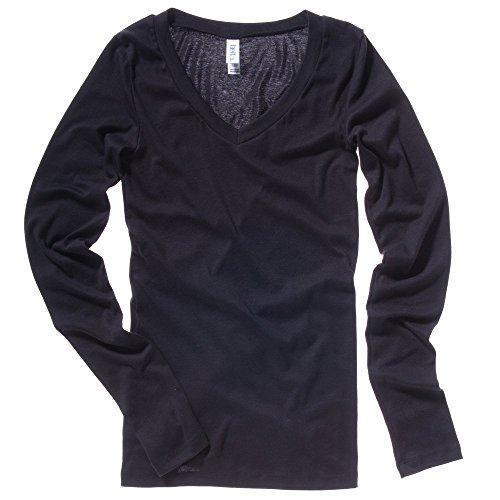 Bella+Canvas Sheer mini rib long sleeve v-neck t-shirt Black S